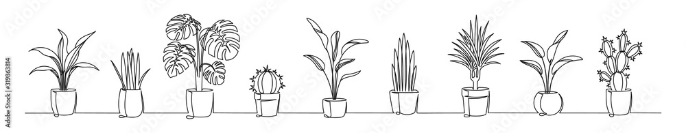 Fototapeta Set of continuous one line drawing of a flowers in a pots