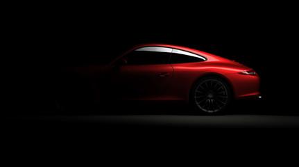 Rad sports car silhouette on black background
