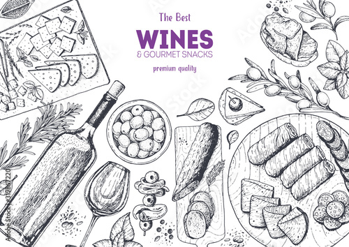 Wines and gourmet snacks frame vector illustration Canvas-taulu