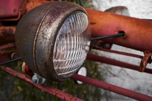 Close-Up Of Old Tractor Headlight