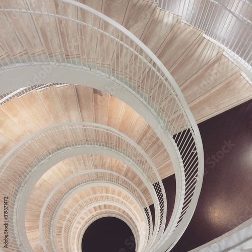 Fototapety, obrazy: Directly Above Shot Of Spiral Staircase