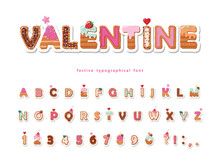 Valentine Sweet Font. Cute Decorative Alphabet. Girly Cartoon Letter And Number Stickers. Paper Cut Out. Vector.