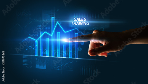 Canvastavla Hand touching SALES TRAINING button, business concept