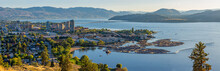 Kelowna British Columbia Skyline And Okanagan Lake With The R W Bennett Bridge From Knox Mountain At Sunset