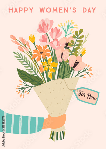 International Women s Day. Vector template with bouquet of flowers Fototapete
