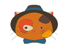 Cute Callico Kitten Begging Face With Blue Ribbon And Hat