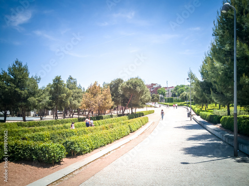 The popular Madrid Rio promenade in the Arganzuela district of Madrid, in Spain, Canvas Print