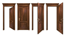Closed And Open Brown Wooden D...