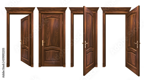 Fotomural Closed and open brown wooden doors isolated on white