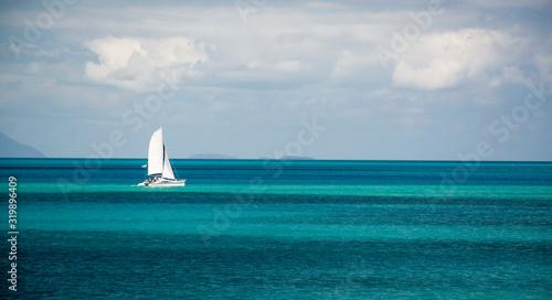 Sailboat in distance, Airlie Beach Australia Wallpaper Mural