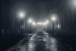 canvas print picture - Autumn city park at night in fog