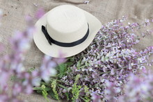 Bouquet In A Hat, Postcard, Calendar, Summer