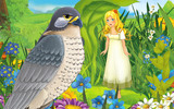 cartoon scene with young beautiful tiny girl in the forest with a wild bird - illustration