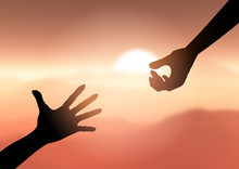 Silhouette Of Hands Reaching O...