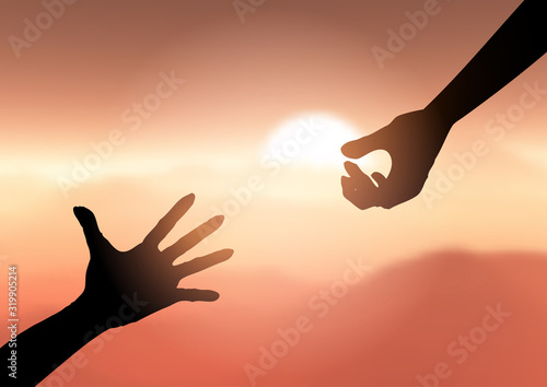 Photo Silhouette of hands reaching out to help