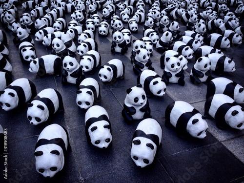 Obraz High Angle View Of Panda Figurines On Floor - fototapety do salonu