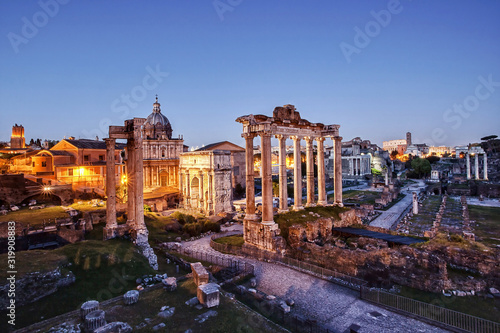 Fotografie, Obraz High Angle View Of Roman Forum Against Sky At Sunset