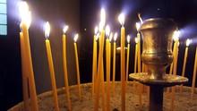 Close-Up Of Burning Candles At...