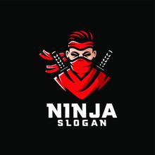 Red Ninja Character Logo Desig...