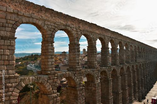 Canvas Print Ancient Roman aqueduct in Segovia Spain