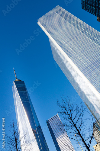 Low angle view of the One World Trade Centre in Manhattan, New York Wallpaper Mural