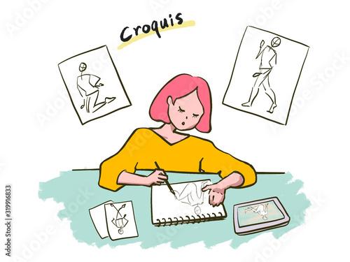 woman doing croquis Wallpaper Mural