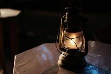 Vintage Oil Lamp On Table