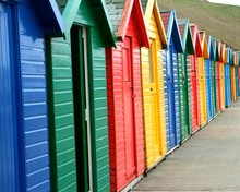 Footpath By Colorful Beach Huts