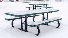Photo Panorama Frame Snowy Picnic Tables And Benches At A Park Blanketed With Snow In Winter