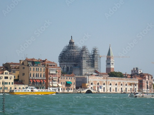 Tela San Marco Campanile And Incomplete Santa Maria Della Salute By Canal Against Cle