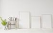 Leinwanddruck Bild - 3d rendering white Poster frame mockup on the wooden floor ,raw concrete wall