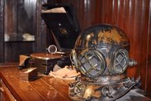 Old Diving Helmet On Table