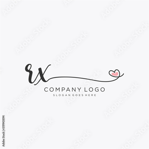 Photo RX Initial handwriting logo design with circle
