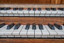 Close-Up Of Pipe Organ Keys