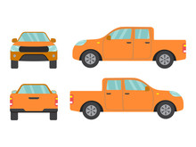 Set Of Orange Pickup Truck Car View On White Background,illustration Vector,Side, Front, Back3