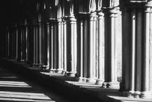 Pillars By Walkway At Salisbury Cathedral