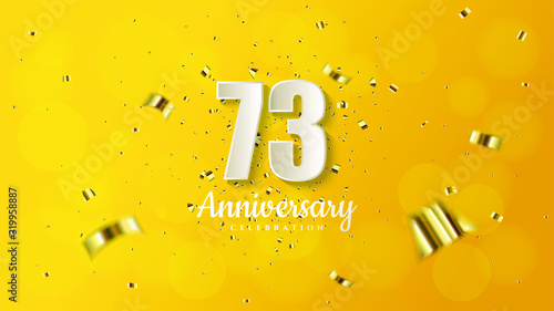 Tablou Canvas anniversary background with illustrations of white numbers and pieces of gold paper on a soft yellow background