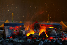 Firewood And Coals Burning In ...