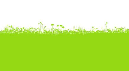 草花 野原のシルエット