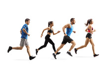 Ggroup Of Young Fit People Running