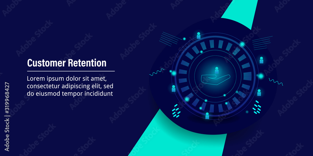 Fototapeta Customer retention - Business strategy - futuristic design concept. Web banner template with text.