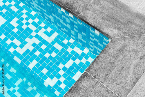 Fototapety, obrazy: Detail of a swimming pool close-up, abstract geometry of the pool, step made of blue mosaic. top view, shape, lines