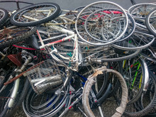High Angle View Of Abandoned Bicycles Pile