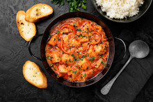 Fish Stew Cooked In A Delicious  Rich And Fragrant Broth, Topped With Fresh Parsley And Served With  Rice.
