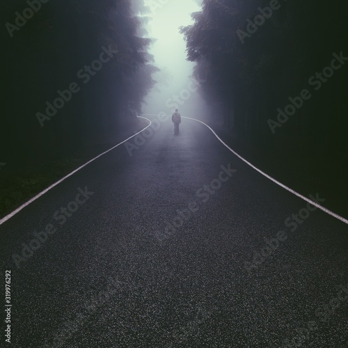 Rear View Of Man Walking On Foggy Road