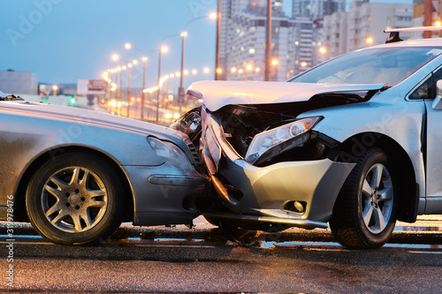 Photo automobile crash accident on street. damaged cars