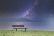 Lonely Empty Bench In Open Tra...