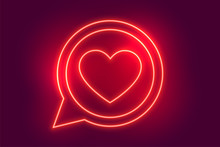 Neon Love Heart Chat Symbol Background Design