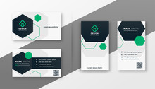Hexagonal Style Modern Business Card Template Set