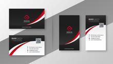 Modern Red Business Card Design Template Set